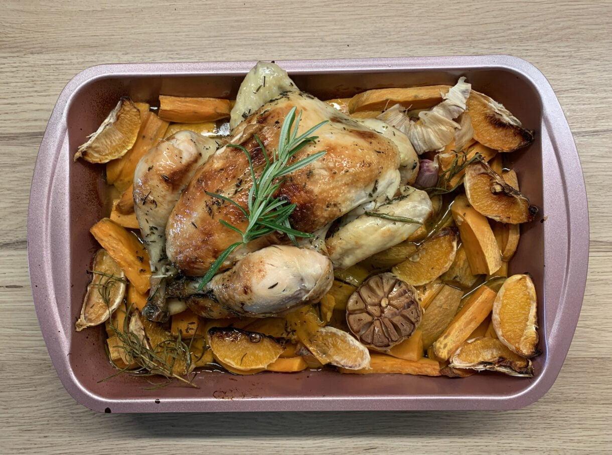 Kurczak zagrodowy w pomarańczach z batatami